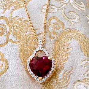 NEW Genuine Diamond Ruby Red Topaz Heart Pendant